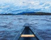 "Custom Landscape Palette Knife Painting/ Original Oil/ Boat/ 5"" x 7"""