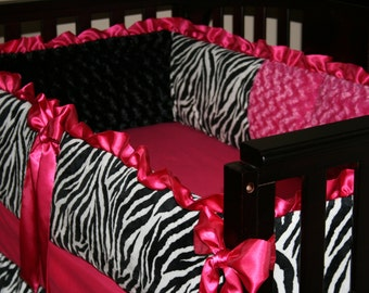Crib Bedding set Zebra with hot pink rosebud minky