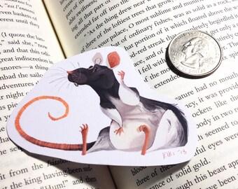 black and white rat sticker or magnet