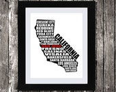 Personalized California Map Printable Art, Typographic Map, California Cities Towns, Word Art, Wall Art, Black, White, Typography, 8 x 10""