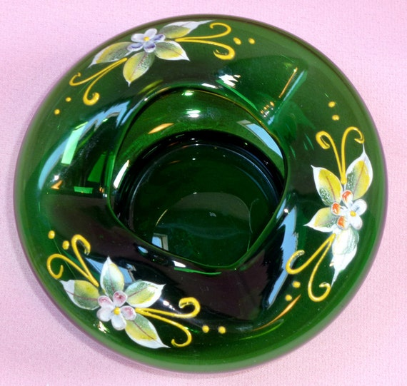 Emerald Green Bohemian Czech Art Glass Hand Painted Cigar