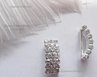 Diamante Rhinestone Ribbon Buckles Sliders - Clasp Block 21mm x 10 Buckles