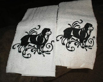 Pair of hand towels - rottweiler Dog EMBROIDERED - 15 x 25 inch for kitchen / bath