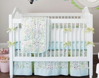 Girl Baby Crib Bedding: Bebe Jardin Crib Bedding - Fabric Swatches Only