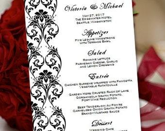 "Printable Wedding Menu Template ""Tropical Damask"" Black | Editable Word.doc | Instant Download | Order Any Color Combination | DIY You Print"