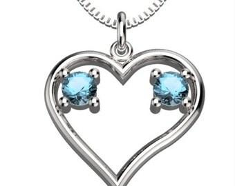 Heart Couple Birthstones Mar Aquamarine & Mar Aquamarine Pendant with 18' Necklace Valentine's gift