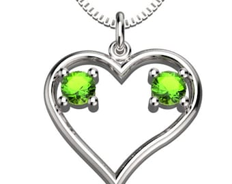 Heart Couple Birthstones Aug Peridot & Aug Peridot Pendant with 18' Necklace Valentine's gift