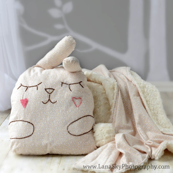 items similar to baby toddler blanket and pillow set stuffed animal pillow toy bunny bedding. Black Bedroom Furniture Sets. Home Design Ideas