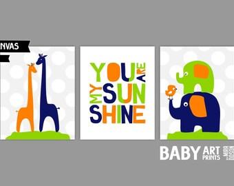 Navy, Orange and Lime green Nursery canvas art, Set of 3 8x10. You Are My Sunshine, Giraffe, Elephant. ( S810502 )