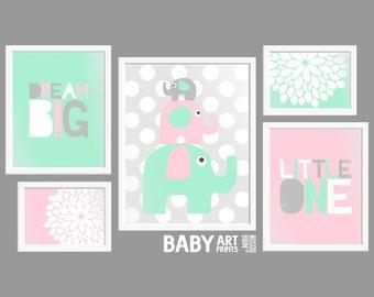 Baby Girl Mint, Light Pink, Grey, Nursery art prints, Set of 5, Dream Big Little One, Elephant ( PHOMIX002 )