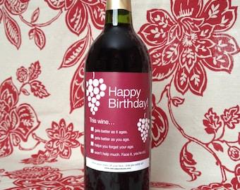 Funny Wine Label - Happy Birthday