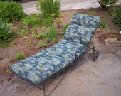 Vintage Hollywood Glam Metal Chaise Lounger w Wheels  and Custom Sunbrella Atomic Geo Fabric