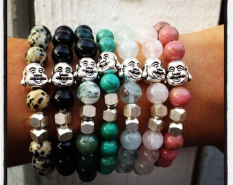 Silver Laughing Buddha Bracelet in Assorted Colors - Gift Boxed