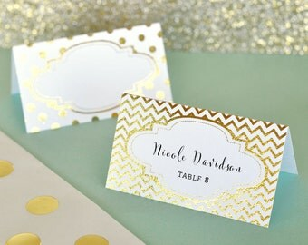 Gold Place Cards - Wedding Place Cards - Wedding Table Name Card - Silver & Gold Foil Place Cards for Wedding Name Cards (EB3044) -set of 12