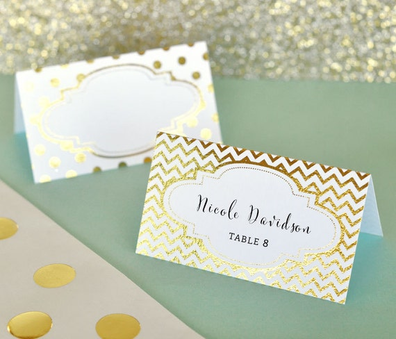 Gold Place Cards Wedding Place Cards Wedding Table Name