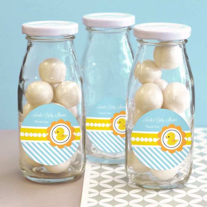 Rubber ducky baby shower favors glass milk bottles by modparty