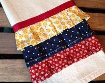 Ruffled Tea Towel - Red Yellow Blue - Kitchen Dish Towel
