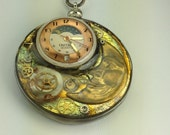Steampunk Pendant with Moon& Star and Moon Watch Face