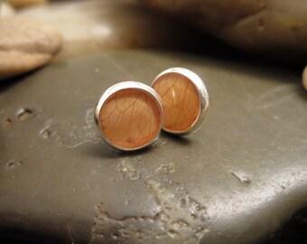 Pressed Orange Rose Post Earrings - Pressed Flower Earrings - 8mm Post Earrings