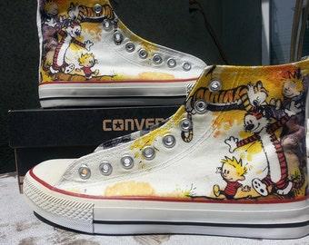 Calvin and Hobbes Custom Converse All Stars