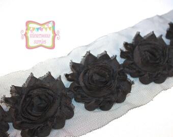 """SALE 2.5"""" Black Shabby Rose Trim"""