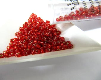 Miyuki Size 8, Glass Seed Beads, 22 Grams Tube, Flame Red Silver Line, Round, Japanese Beads, Wire Wrapping, Bead Stringing, Bead Embroidery