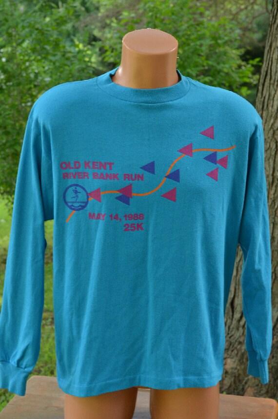 vintage 80s t shirt kent river bank run 25k 1988 road race