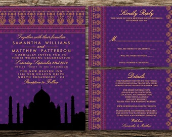 Printable Wedding Invitation Set - Invitation - RSVP Card - Details Card - DIY Wedding - Bollywood Romance Wedding Collection Design