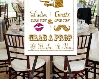 "Instant Download- Printable JPEG DIY Gold Glitter Effect & Pink Glitter Effect Lips Wedding Sign: ""Fancy Photobooth"" Large 20"" x 30"" Signage"