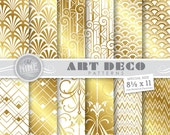 "Gold & White ART DECO Digital Paper Pack 8 1/2"" x 11"" Pattern Prints, Instant Download, Retro Patterns Backgrounds Print"