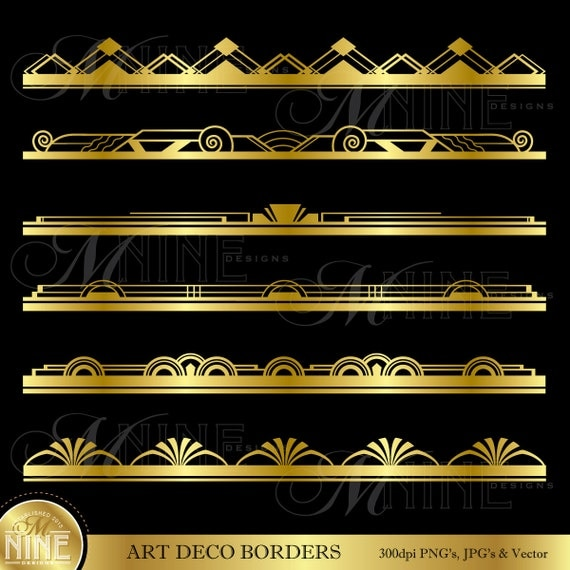Gold ART DECO BORDER Clip Art: Art Deco Design Elements Vintage Art ...