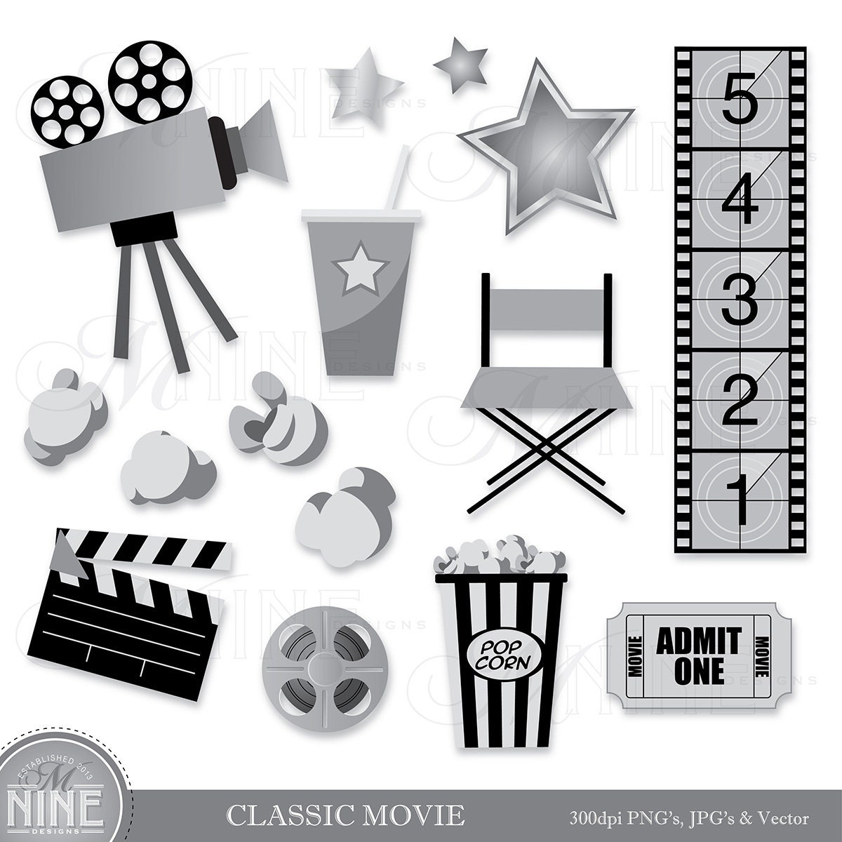 movie clipart classic clip cinema party theme hollywood theater digital cliparts clips instant items clipground stars