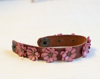 Leather floral bracelet pink and brown genuine leather cuff