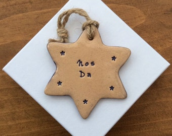 Nos Da handmade ceramic decorative Welsh star gift made in Wales