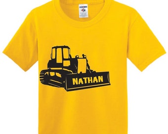 Personalized Bulldozer T shirt, boy with caterpillar shirt with name