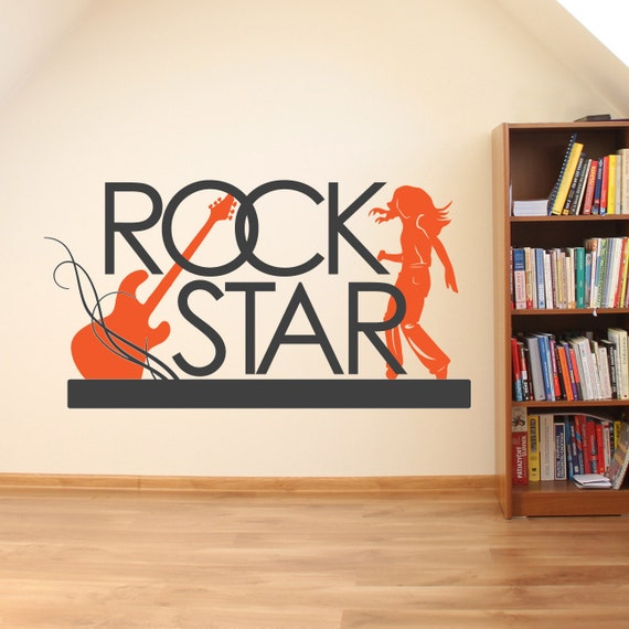 Rock Star Vinyl Wall Decal Music Theme Decor Guitar Vinyl