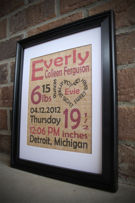 Burlap Baby Print Color Baby Girl Birth Stats Burlap Subway