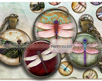 Digital Collage Sheet Printable images for Bottle Cap 1.5 inch 18mm 14mm 1 inch circle Cabochon images Instant download Dragonfly images C91