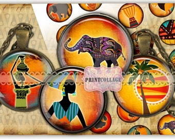 Digital Collage Sheet AFRICA Cabochon images 1.5inch 18mm 14mm 1inch circle Printable images Instant download bottle caps C115