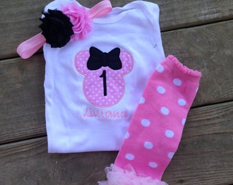 Pink and black minnie mouse birthday outfit - 1st birthday shirt leg warmers and headband - custom birthday shirt