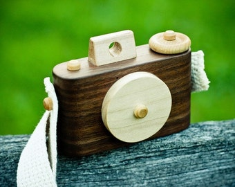 The Little Wooden Camera- In Walnut- Kid's Wooden Play Camera- Photography Prop