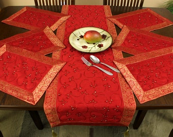 Hand Embroidered 7-Piece Placemat & Table Runner Set (Scarlet Red)