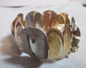 Tri Color Gold Silver Copper Vintage Chunky Panel Bracelet