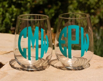 2 Decorative Stemless Glasses Monogram Engagements Wedding Party Gifts Bachelor Bachelorette Parties, Bridesmaid Groomsmen Gifts