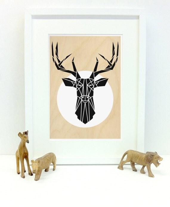 Geometric Purple Deer Wall Art Print Modern Poster Buck: Mimimal Deer Art Print Geometric Stag Head Wall Art By