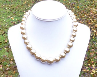 Briette - Graduated Chunky Metallic Light Gold Pearl Beaded Necklace