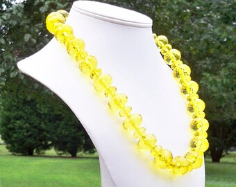 Breslin - Bright Yellow Multifaceted Beaded Necklace