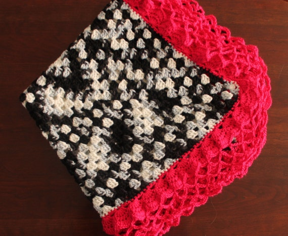 Crochet Zebra Blanket : Zebra Crocheted Baby Blanket with Hot Pink Edge---Ready to Ship!!