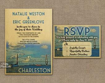 Charleston Wedding Invitation - Printable Charleston South Carolina Wedding Invites - Charleston Retro Wedding Suite or Solo VTW