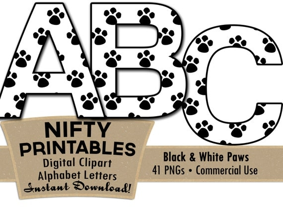 ... Cat Paws Clip Art - Animal Alphabet - Pets Clip Art - Commercial Use